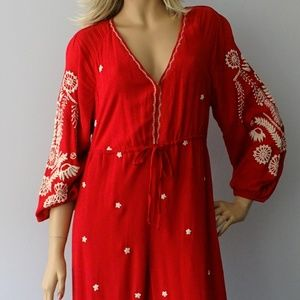 Free People Red Embroidered Wide Leg Jumpsuit NWT